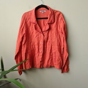 Flax Button Down Long Sleeve Orange Linen Shirt